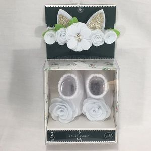 Laura Ashley Bunny Flower Headwrap & Socks White